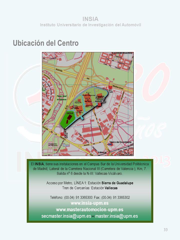 INSIA Instituto Universitario de Investigación del Automóvil Ubicación del Centro El INSIA, tiene sus instalaciones en el Campus Sur de la Universidad Politécnica de Madrid, Lateral de la Carretera Nacional III (Carretera de Valencia ), Km, 7.