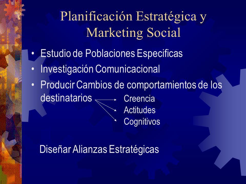 Planificación Estratégica y Marketing Social Estudio de Poblaciones Especificas Investigación Comunicacional Producir Cambios de comportamientos de lo