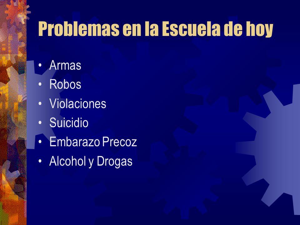 Problemas en la Escuela de hoy Armas Robos Violaciones Suicidio Embarazo Precoz Alcohol y Drogas