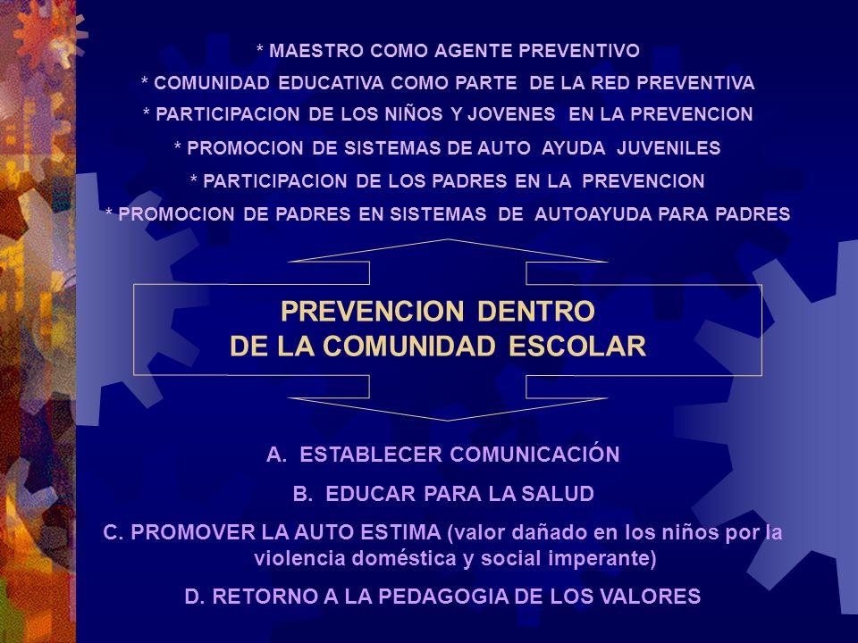 PREVENCION DENTRO DE LA COMUNIDAD ESCOLAR * MAESTRO COMO AGENTE PREVENTIVO * COMUNIDAD EDUCATIVA COMO PARTE DE LA RED PREVENTIVA * PARTICIPACION DE LO