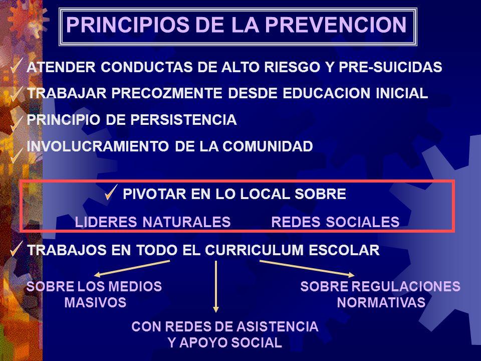 PRINCIPIOS DE LA PREVENCION ATENDER CONDUCTAS DE ALTO RIESGO Y PRE-SUICIDAS TRABAJAR PRECOZMENTE DESDE EDUCACION INICIAL PRINCIPIO DE PERSISTENCIA INV