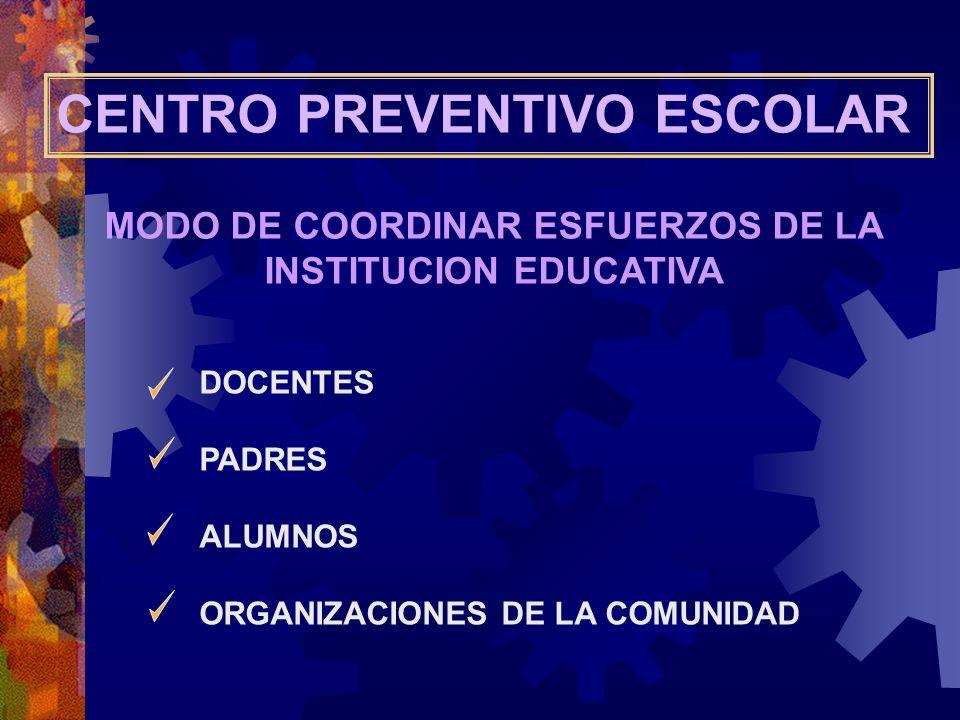 CENTRO PREVENTIVO ESCOLAR MODO DE COORDINAR ESFUERZOS DE LA INSTITUCION EDUCATIVA DOCENTES PADRES ALUMNOS ORGANIZACIONES DE LA COMUNIDAD
