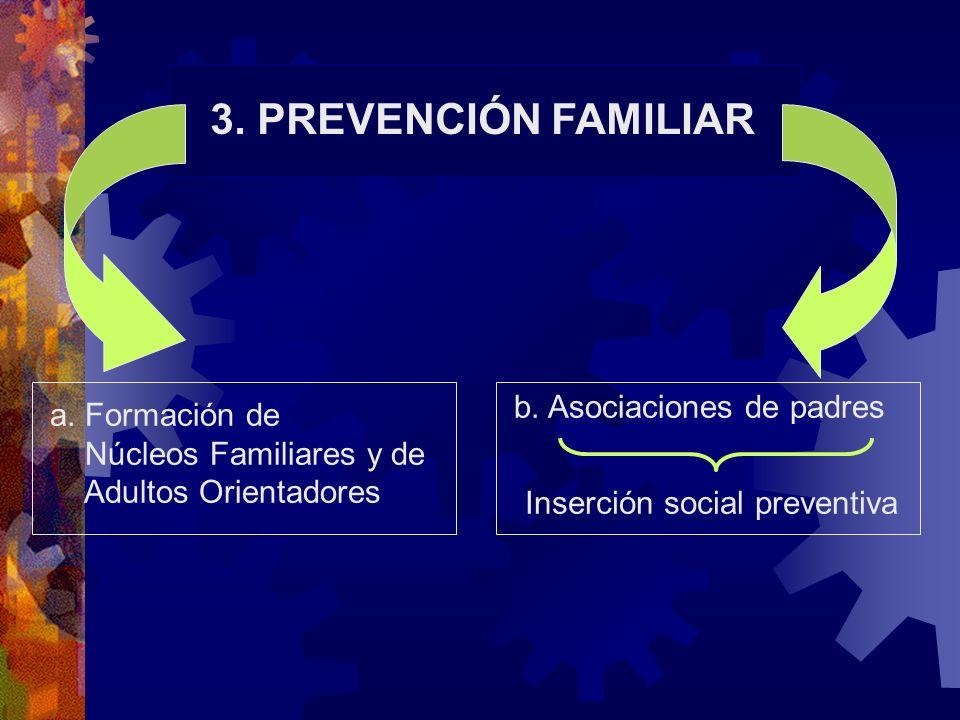 3. PREVENCIÓN FAMILIAR a. Formación de Núcleos Familiares y de Adultos Orientadores b. Asociaciones de padres Inserción social preventiva