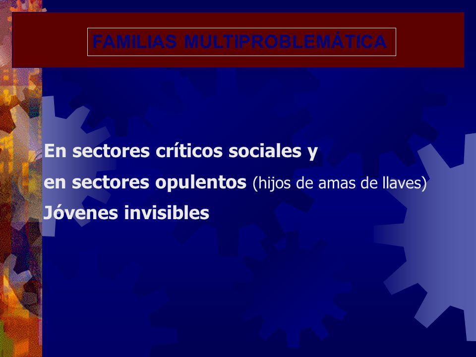 FAMILIAS MULTIPROBLEMÁTICA En sectores críticos sociales y en sectores opulentos (hijos de amas de llaves) Jóvenes invisibles