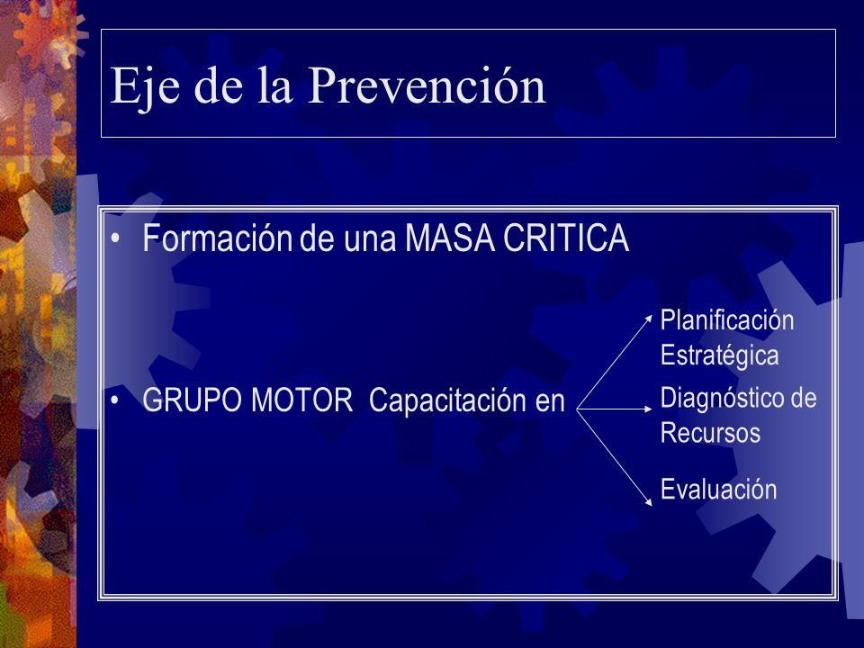 Eje de la Prevención Formación de una MASA CRITICA GRUPO MOTORCapacitación en Planificación Estratégica Diagnóstico de Recursos Evaluación