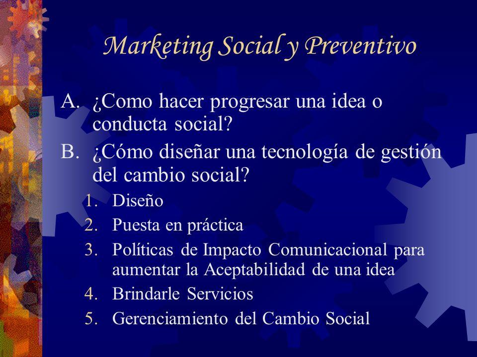 Marketing Social y Preventivo A.¿Como hacer progresar una idea o conducta social? B.¿Cómo diseñar una tecnología de gestión del cambio social? 1.Diseñ