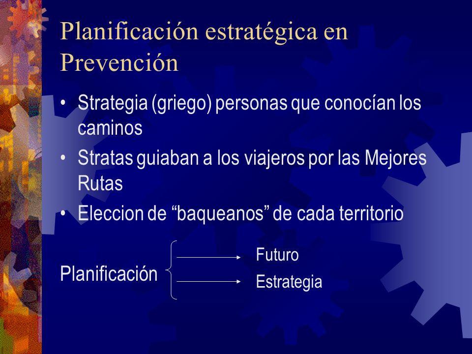 Planificación estratégica en Prevención Strategia (griego) personas que conocían los caminos Stratas guiaban a los viajeros por las Mejores Rutas Elec