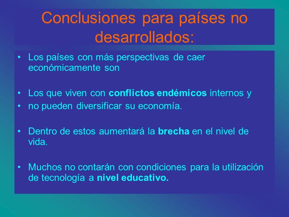 Conclusiones para los gobiernos de países desarrollados: a) invertir en tecnología y educación pública b) dialogar con actores no gubernamentales. c)