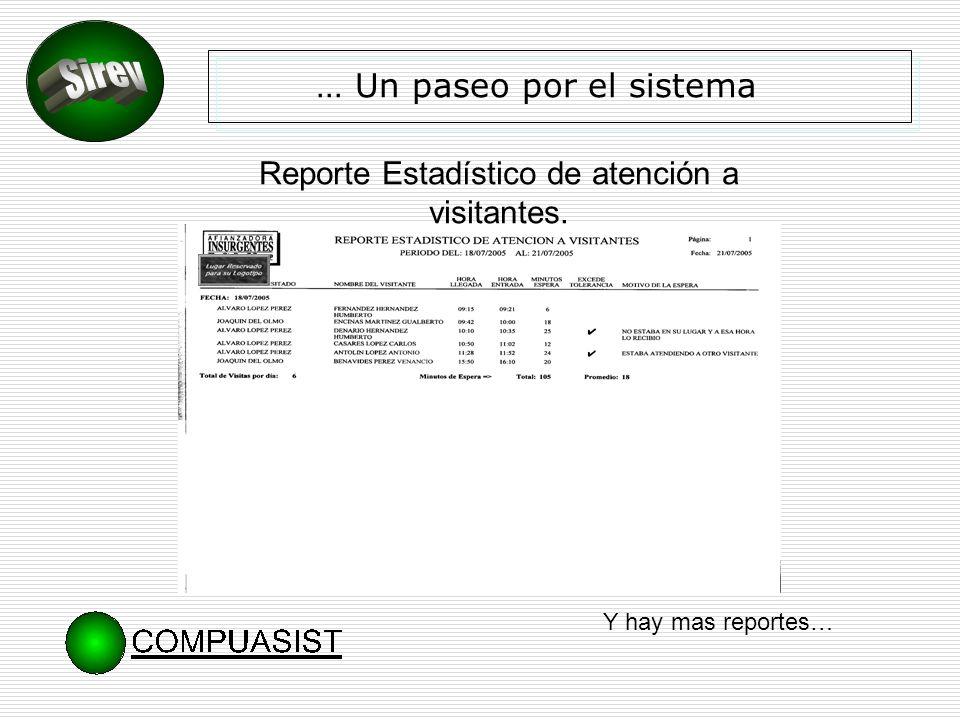 … Un paseo por el sistema Reporte Estadístico de atención a visitantes. Y hay mas reportes…