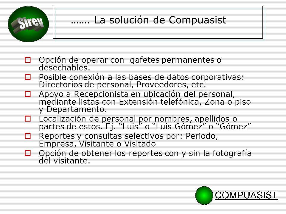 BENEFICIOS Control de visitantes que incrementa la seguridad y el orden dentro de la empresa.