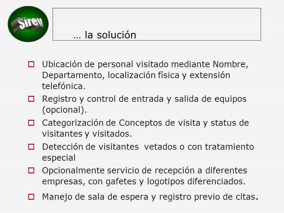 … la solución Ubicación de personal visitado mediante Nombre, Departamento, localización física y extensión telefónica.