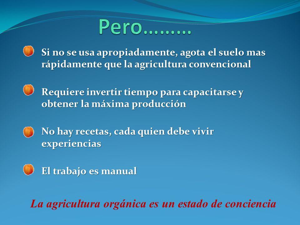 El Método Biointensivo es: Agricultura orgánica en pequeña escala, con bajos insumos y alta productividad.