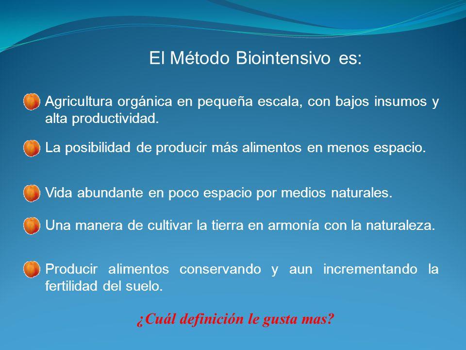 Método Biointensivo Rendimientos de 200, 400% o más.