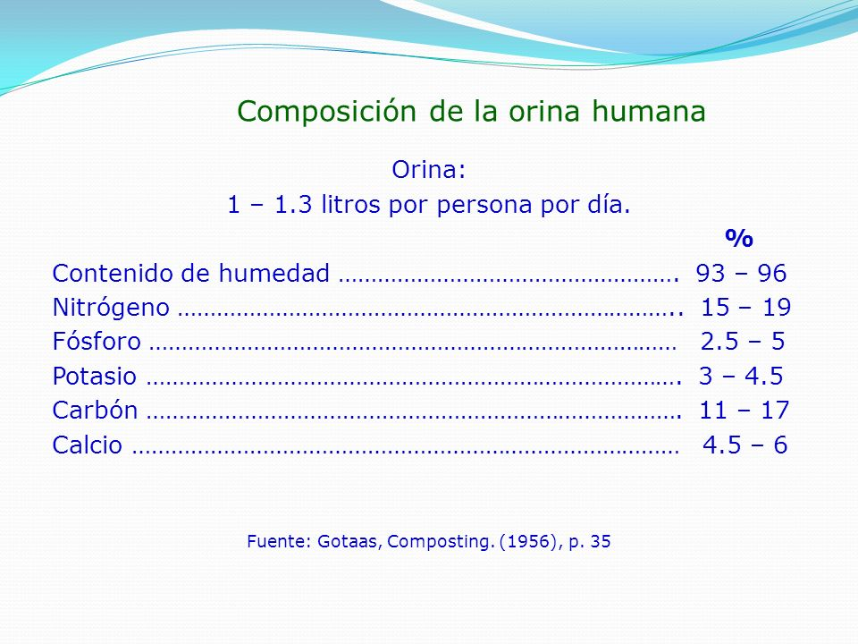 Composición de la caca humana Materia fecal: 135 – 270 gramos por persona por día.