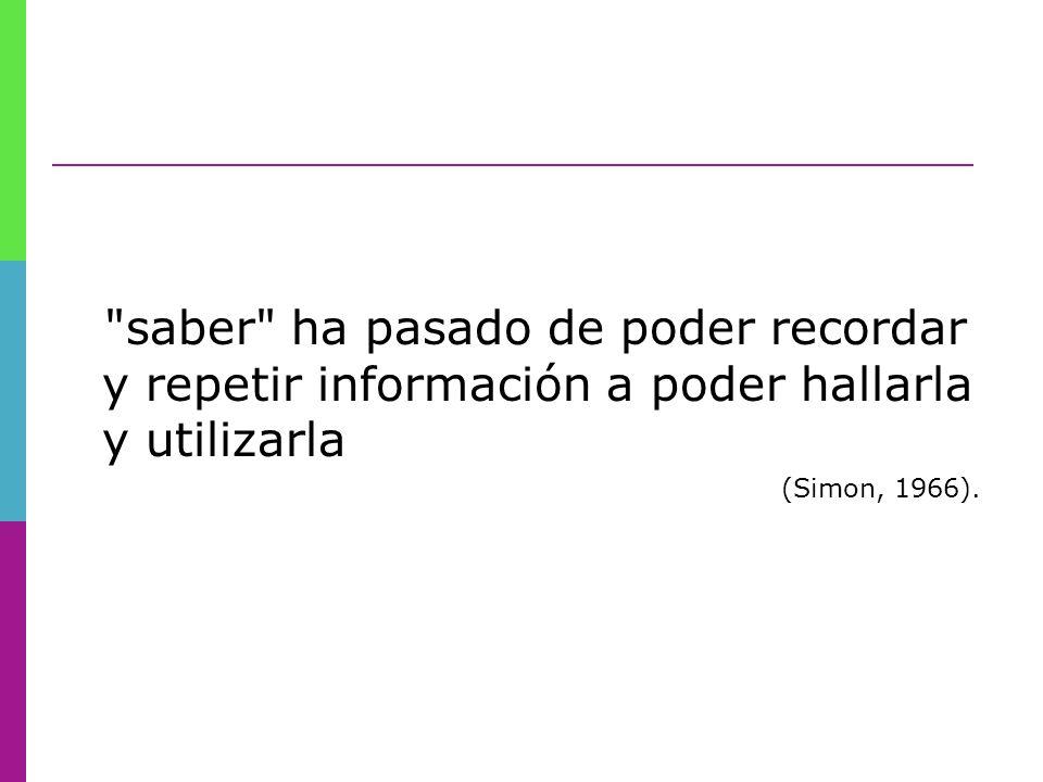 saber ha pasado de poder recordar y repetir información a poder hallarla y utilizarla (Simon, 1966).