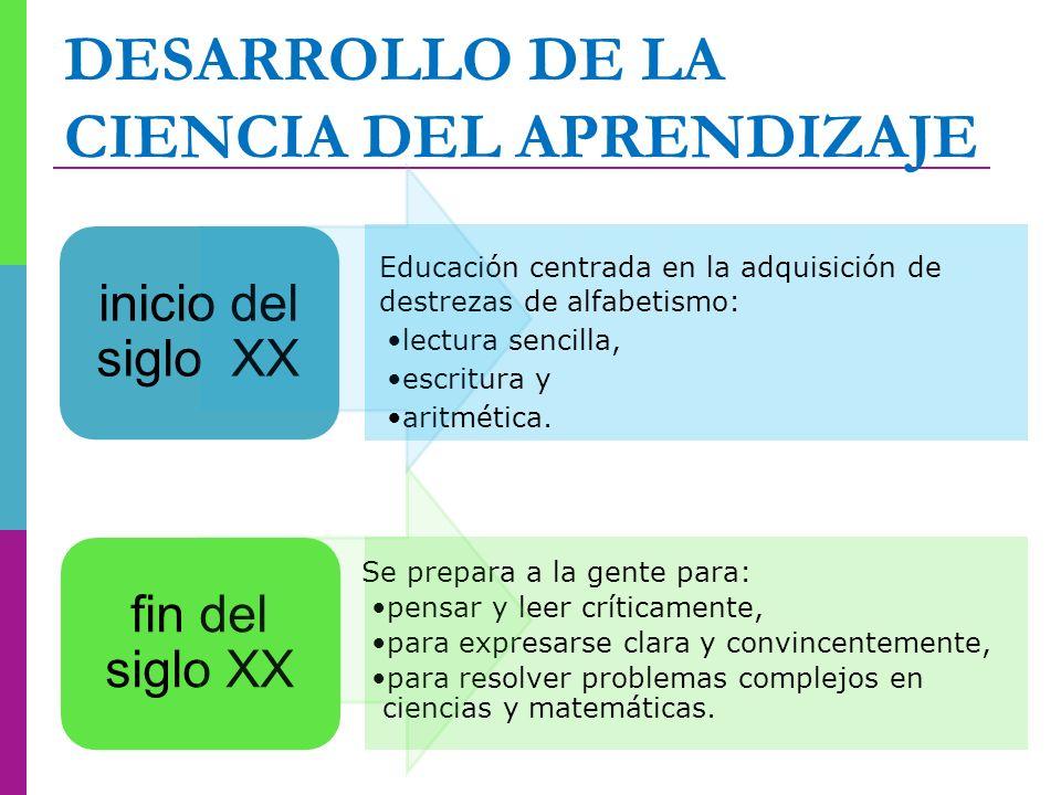 DESARROLLO DE LA CIENCIA DEL APRENDIZAJE Educación centrada en la adquisición de destrezas de alfabetismo: lectura sencilla, escritura y aritmética. i