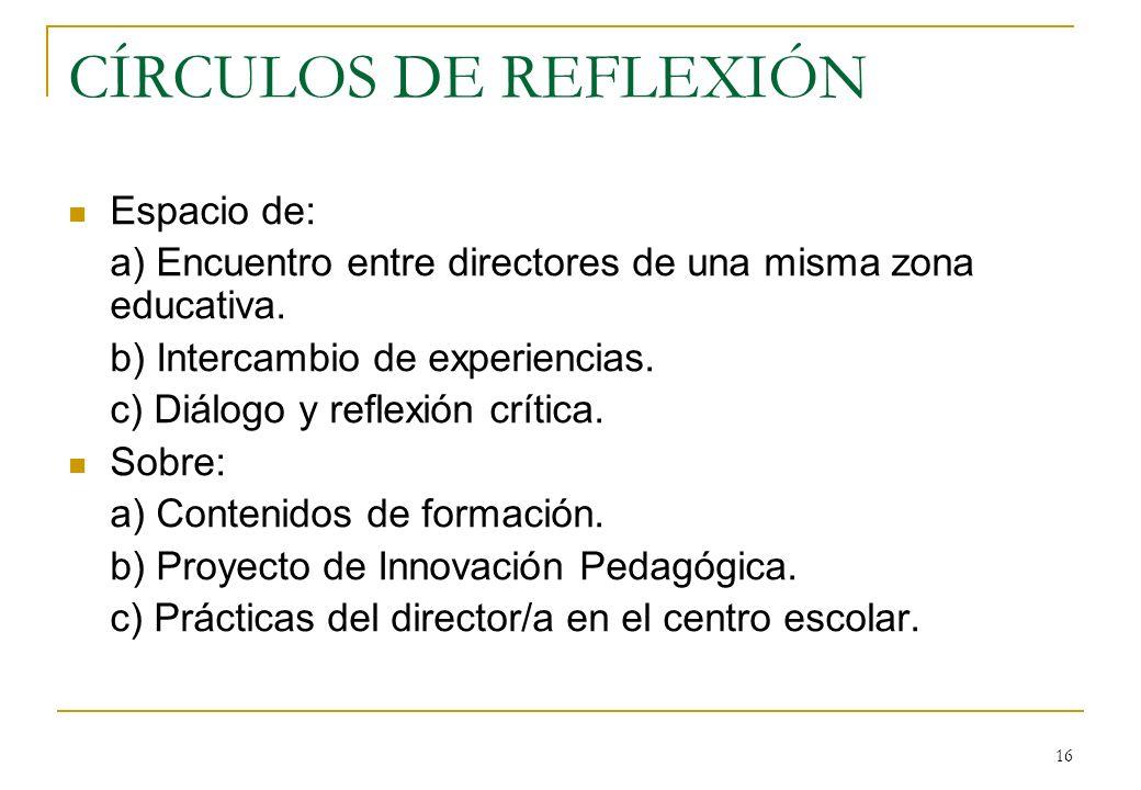 16 CÍRCULOS DE REFLEXIÓN Espacio de: a) Encuentro entre directores de una misma zona educativa.