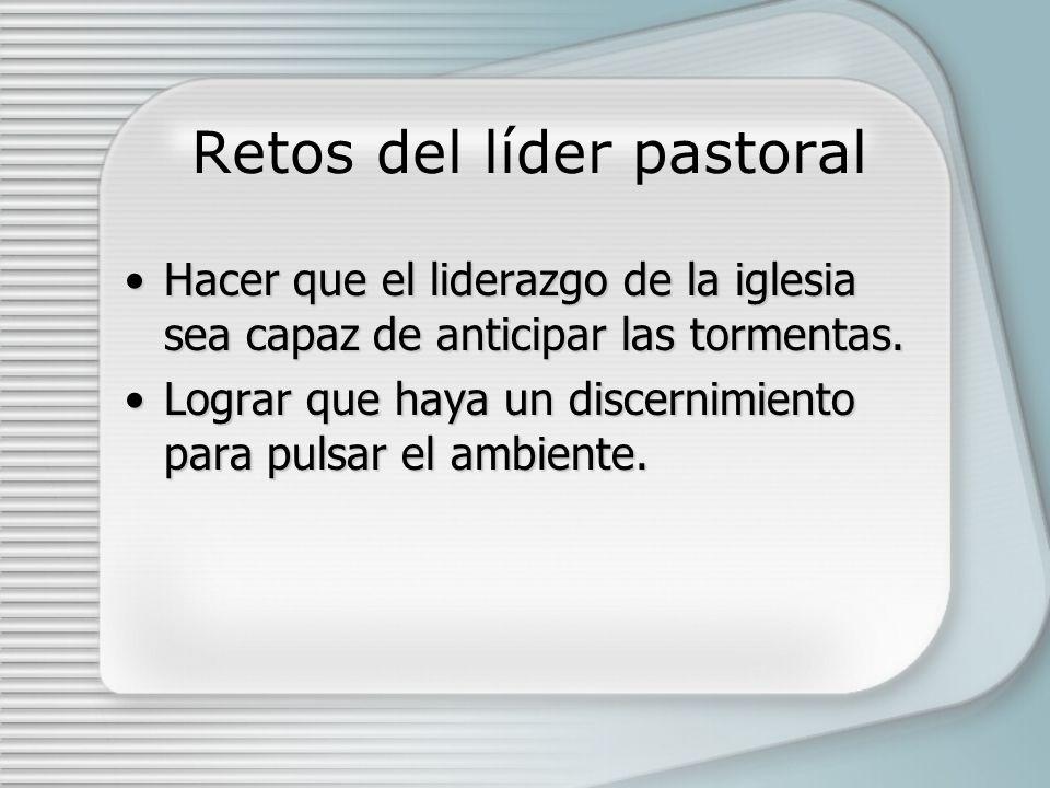 Retos del líder pastoral Hacer que el liderazgo de la iglesia sea capaz de anticipar las tormentas.Hacer que el liderazgo de la iglesia sea capaz de anticipar las tormentas.
