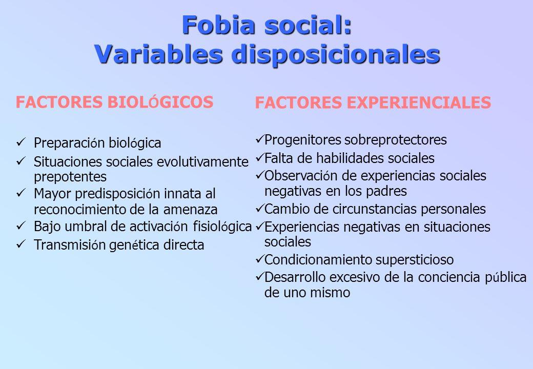 Fobia social: Variables disposicionales FACTORES BIOL Ó GICOS Preparaci ó n biol ó gica Situaciones sociales evolutivamente prepotentes Mayor predispo