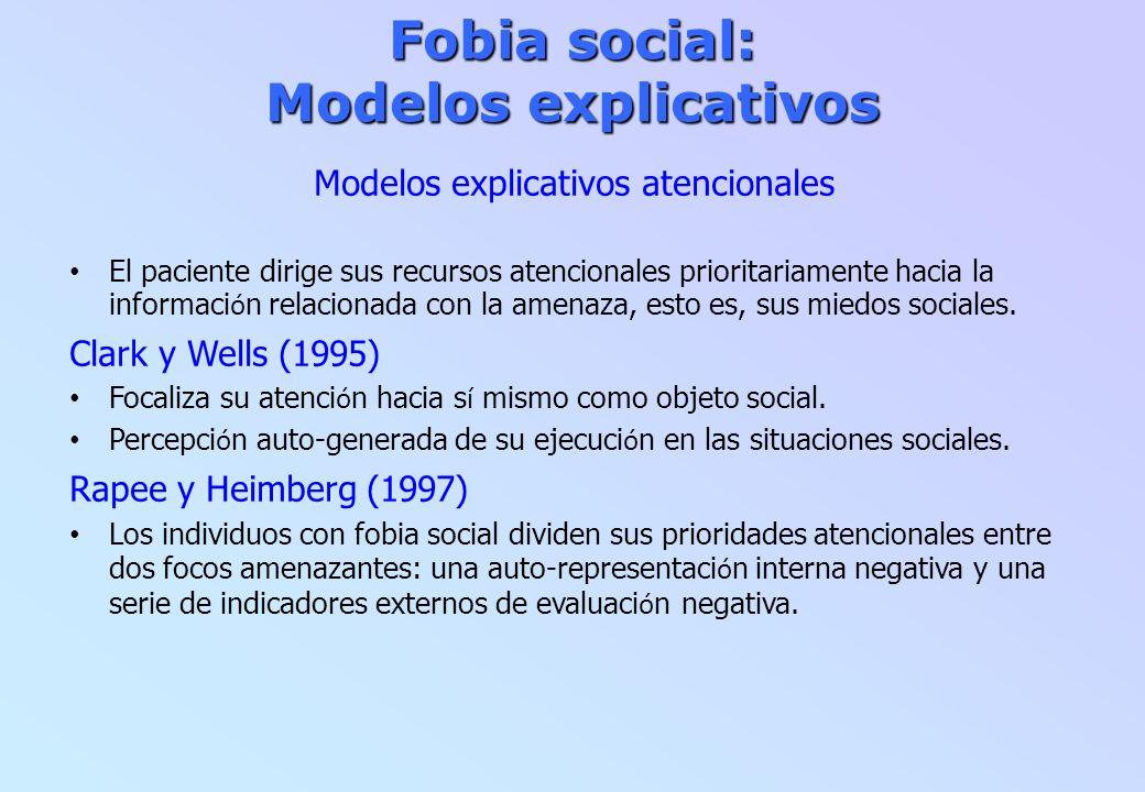 Fobia social: Modelos explicativos Modelos explicativos atencionales El paciente dirige sus recursos atencionales prioritariamente hacia la informaci