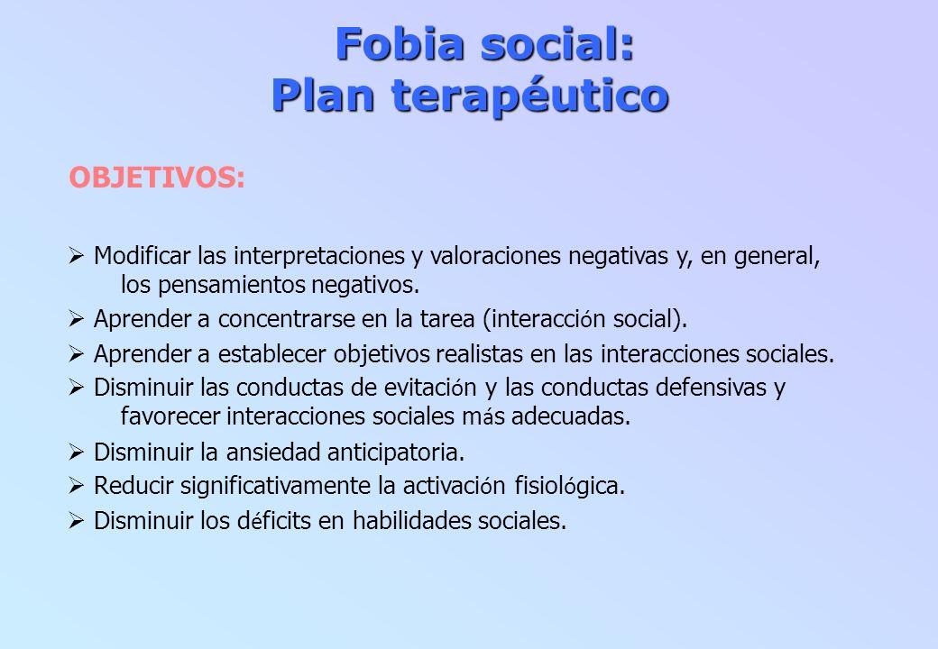 Fobia social: Plan terapéutico Fobia social: Plan terapéutico OBJETIVOS: Modificar las interpretaciones y valoraciones negativas y, en general, los pe