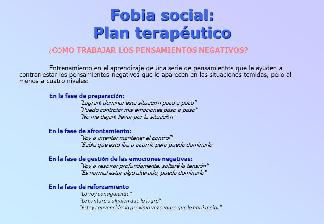 Fobia social: Plan terapéutico ¿ C Ó MO TRABAJAR LOS PENSAMIENTOS NEGATIVOS? Entrenamiento en el aprendizaje de una serie de pensamientos que le ayude