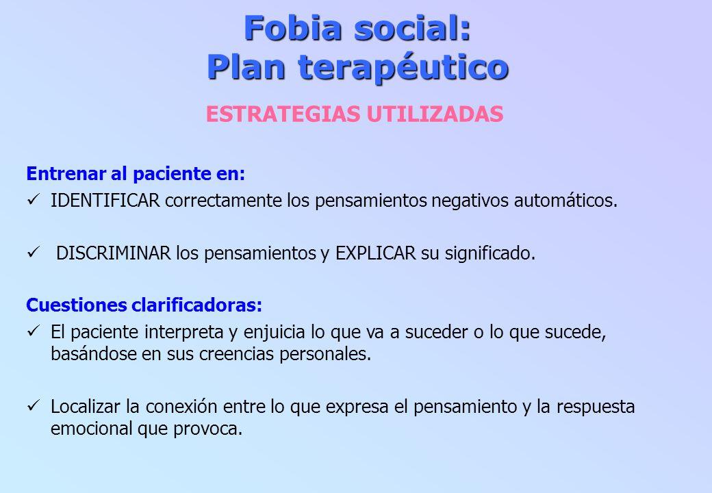 Fobia social: Plan terapéutico ESTRATEGIAS UTILIZADAS Entrenar al paciente en: IDENTIFICAR correctamente los pensamientos negativos automáticos. DISCR