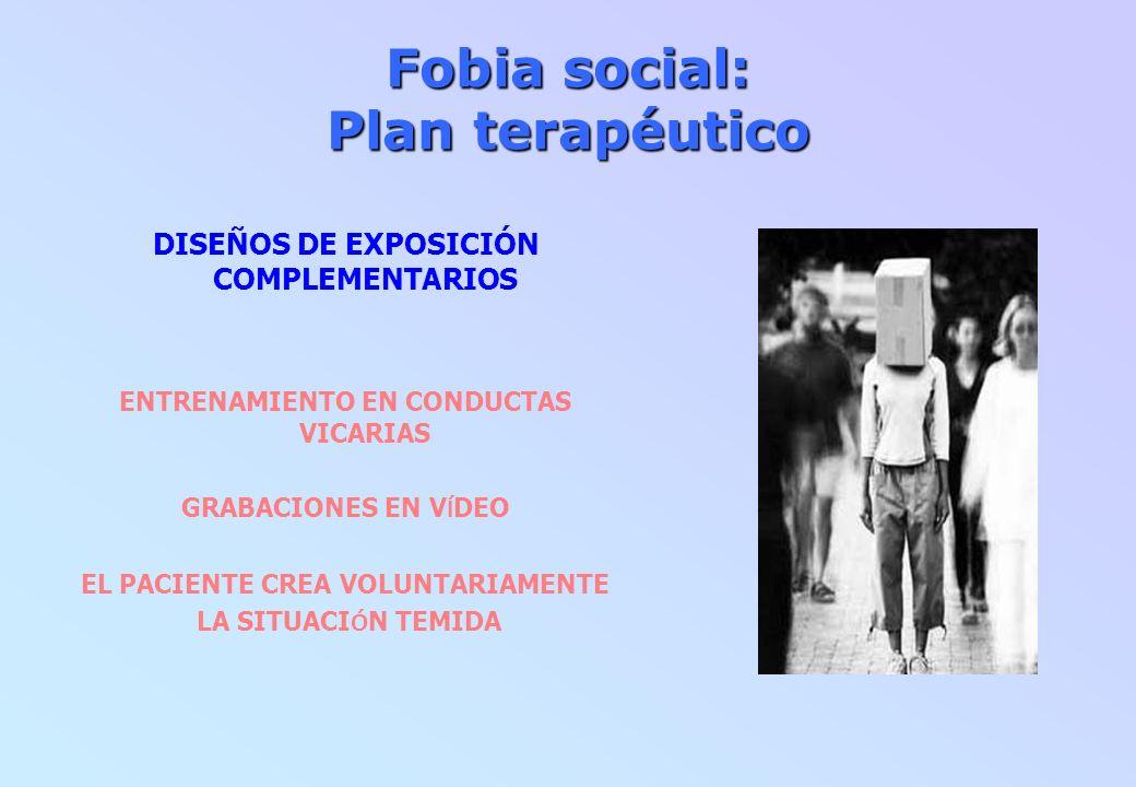 Fobia social: Plan terapéutico DISEÑOS DE EXPOSICIÓN COMPLEMENTARIOS ENTRENAMIENTO EN CONDUCTAS VICARIAS GRABACIONES EN V Í DEO EL PACIENTE CREA VOLUN