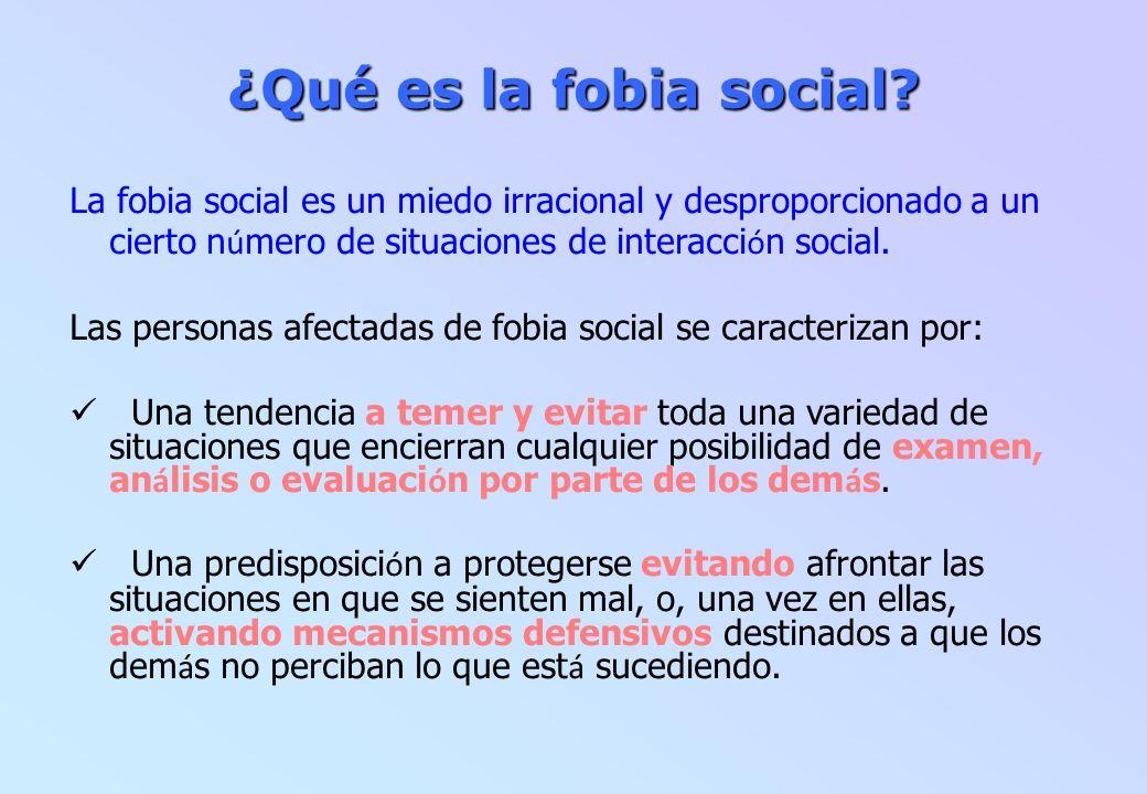 ¿Qué es la fobia social? La fobia social es un miedo irracional y desproporcionado a un cierto n ú mero de situaciones de interacci ó n social. Las pe