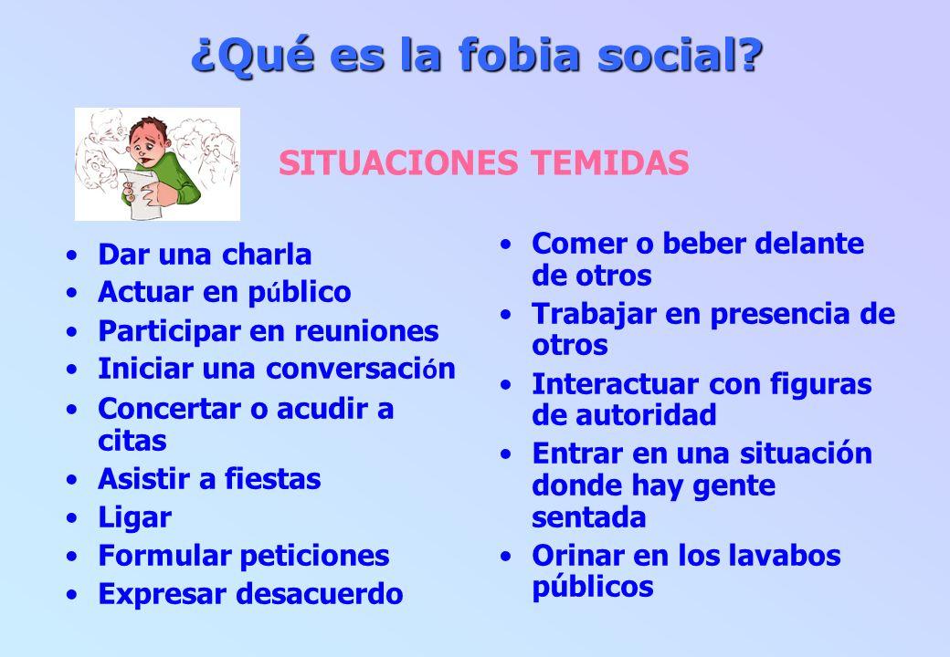 ¿Qué es la fobia social? ¿Qué es la fobia social? SITUACIONES TEMIDAS Dar una charla Actuar en p ú blico Participar en reuniones Iniciar una conversac