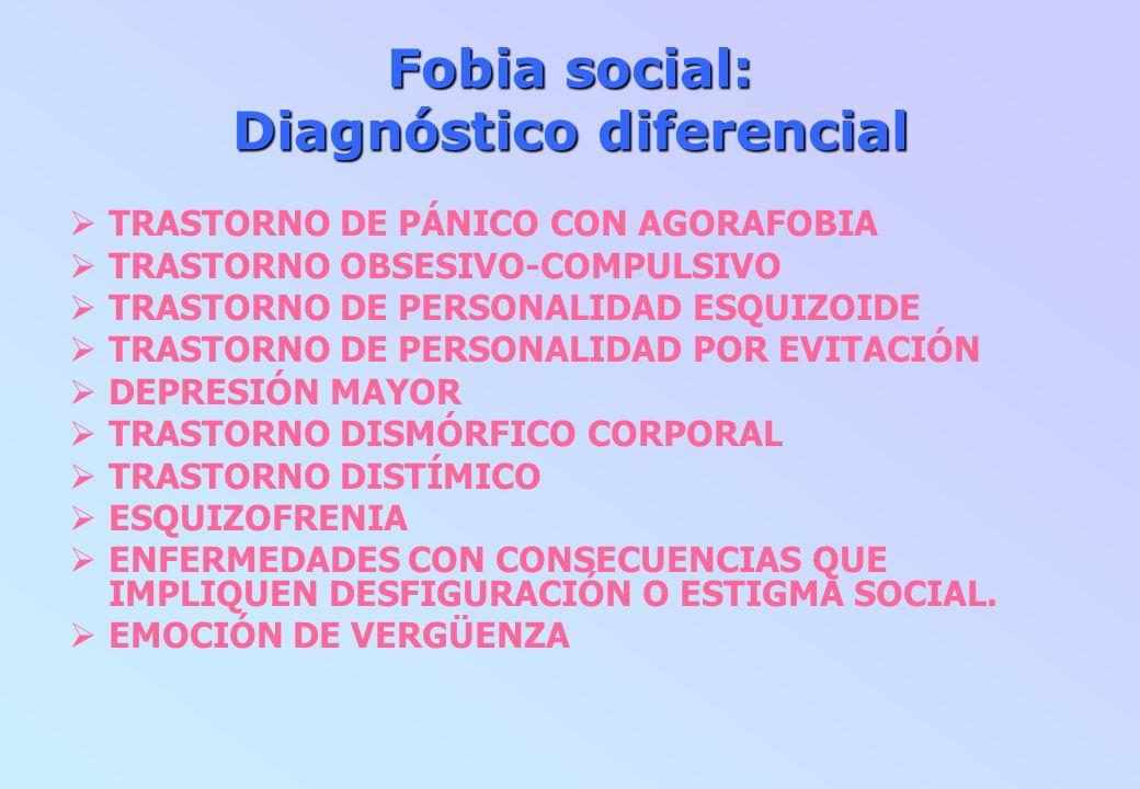 Fobia social: Diagnóstico diferencial TRASTORNO DE PÁNICO CON AGORAFOBIA TRASTORNO OBSESIVO-COMPULSIVO TRASTORNO DE PERSONALIDAD ESQUIZOIDE TRASTORNO