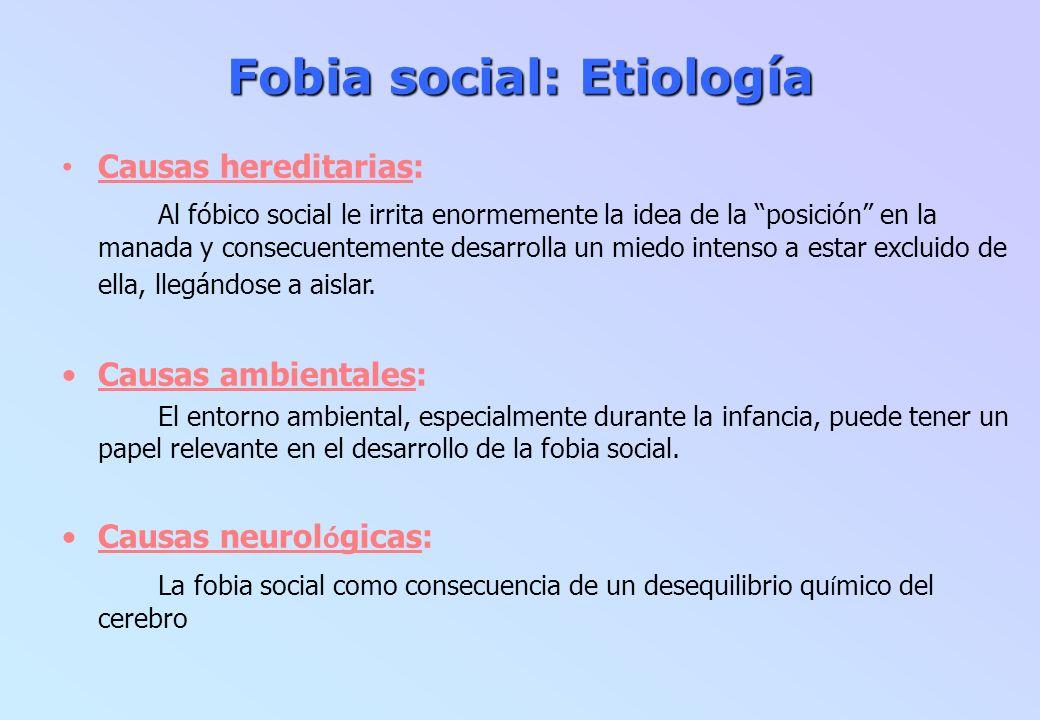 Fobia social: Etiología Causas hereditarias: Al fóbico social le irrita enormemente la idea de la posición en la manada y consecuentemente desarrolla