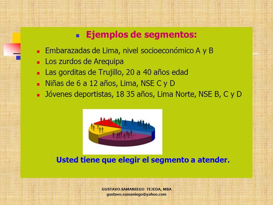 Ejemplos de segmentos: Embarazadas de Lima, nivel socioeconómico A y B Los zurdos de Arequipa Las gorditas de Trujillo, 20 a 40 años edad Niñas de 6 a