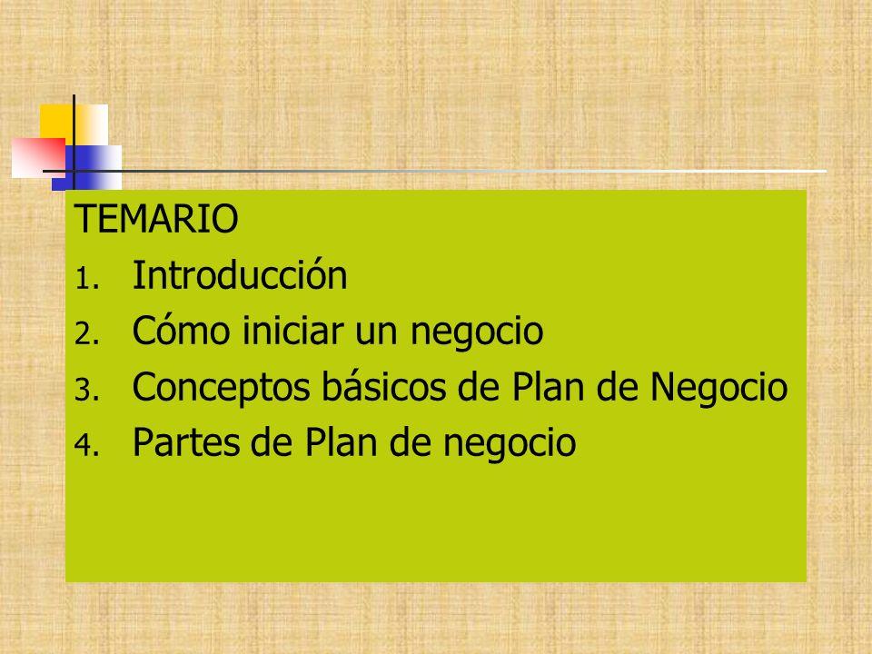 TEMARIO 1. Introducción 2. Cómo iniciar un negocio 3. Conceptos básicos de Plan de Negocio 4. Partes de Plan de negocio
