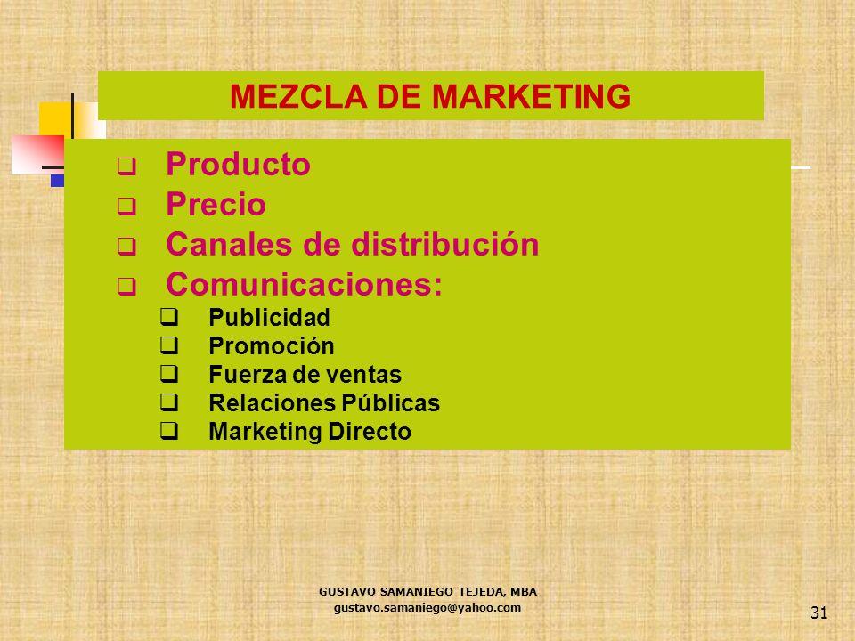 31 Producto Precio Canales de distribución Comunicaciones: Publicidad Promoción Fuerza de ventas Relaciones Públicas Marketing Directo MEZCLA DE MARKE