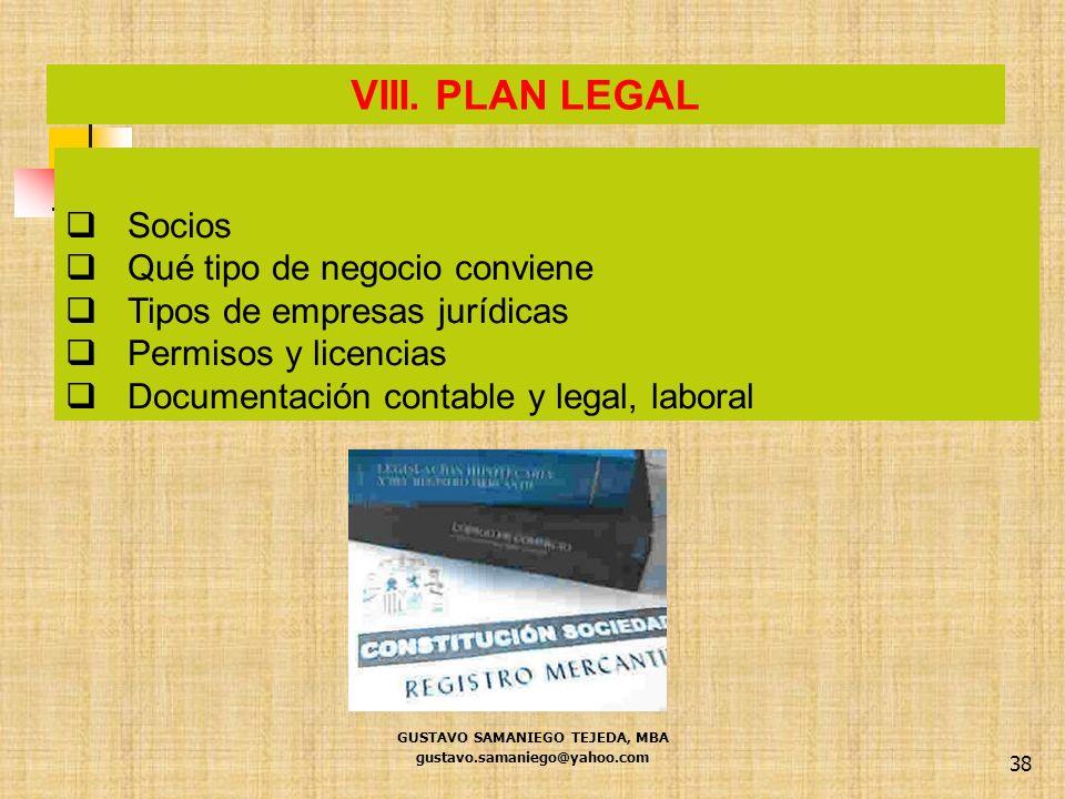 38 Socios Qué tipo de negocio conviene Tipos de empresas jurídicas Permisos y licencias Documentación contable y legal, laboral VIII. PLAN LEGAL GUSTA