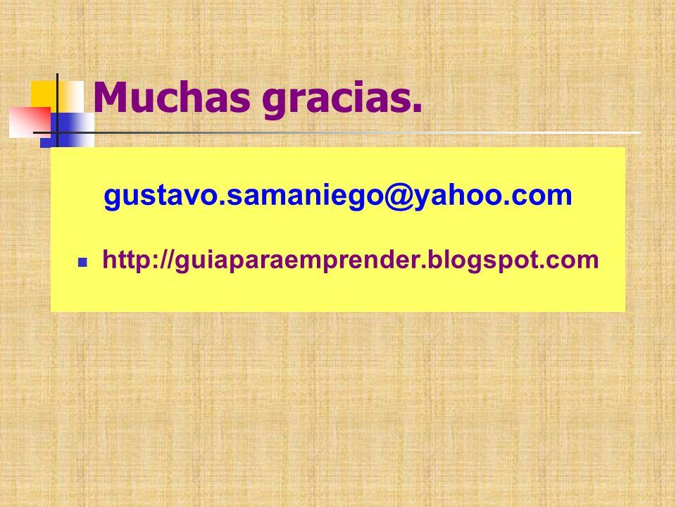 Muchas gracias. gustavo.samaniego@yahoo.com http://guiaparaemprender.blogspot.com