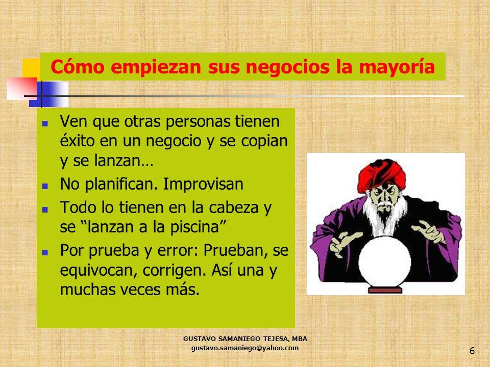 GUSTAVO SAMANIEGO TEJESA, MBA gustavo.samaniego@yahoo.com 6 Cómo empiezan sus negocios la mayoría Ven que otras personas tienen éxito en un negocio y