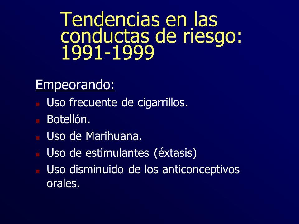 Tendencias en las conductas de riesgo: 1991-1999 Empeorando: n Uso frecuente de cigarrillos. n Botellón. n Uso de Marihuana. n Uso de estimulantes (éx
