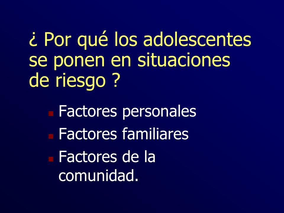 ¿ Por qué los adolescentes se ponen en situaciones de riesgo ? n Factores personales n Factores familiares n Factores de la comunidad.