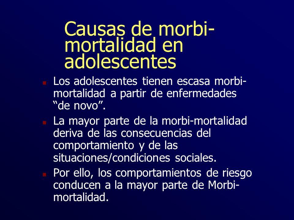 Causas de morbi- mortalidad en adolescentes n Los adolescentes tienen escasa morbi- mortalidad a partir de enfermedades de novo. n La mayor parte de l