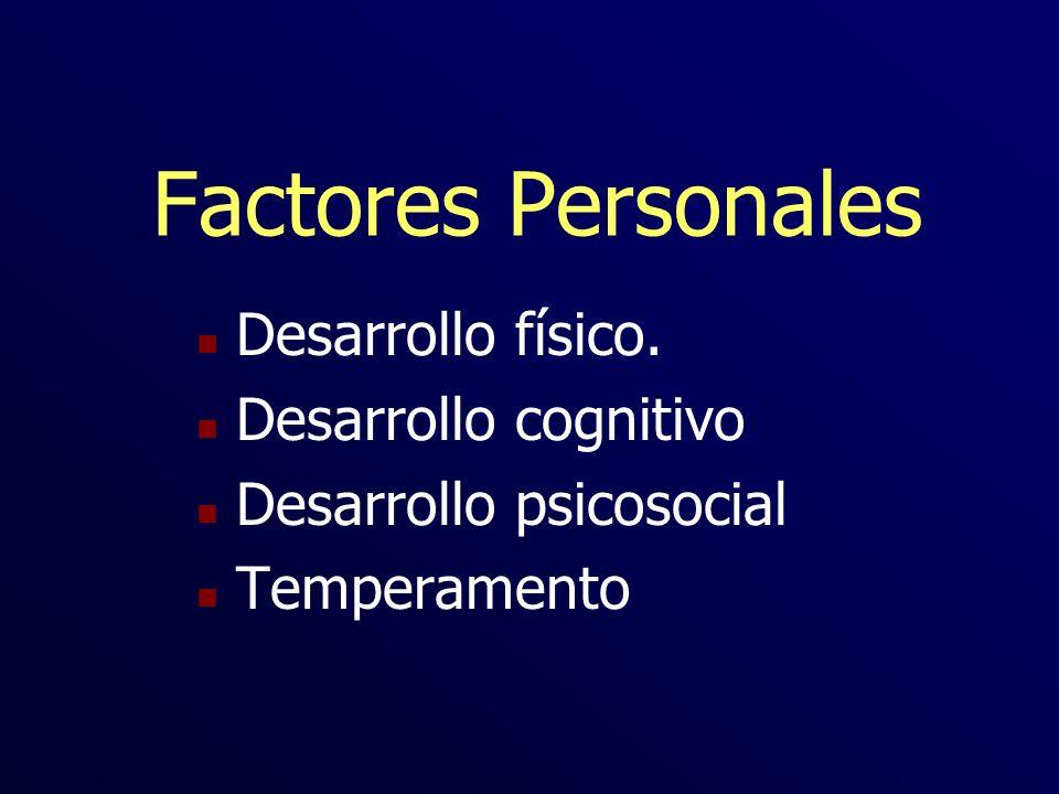 Factores Personales n Desarrollo físico. n Desarrollo cognitivo n Desarrollo psicosocial n Temperamento