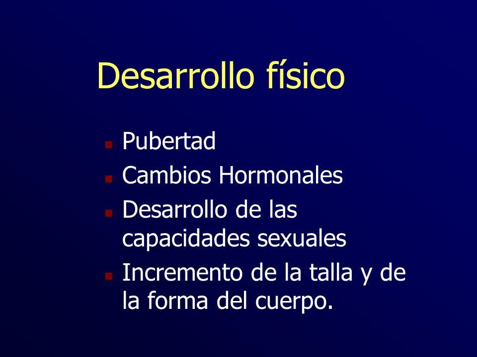 Desarrollo físico n Pubertad n Cambios Hormonales n Desarrollo de las capacidades sexuales n Incremento de la talla y de la forma del cuerpo.