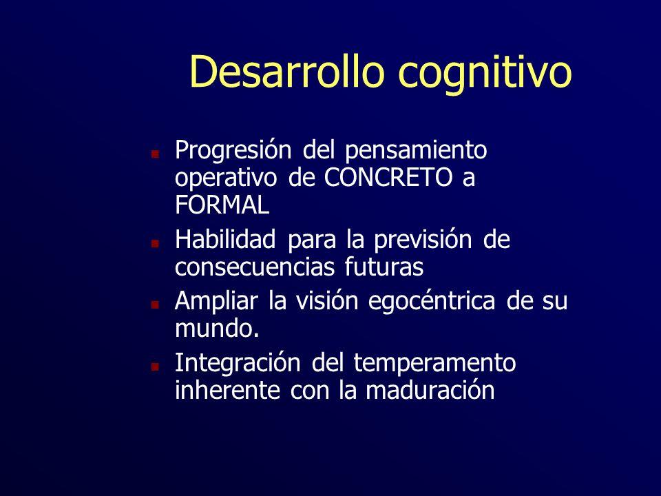 Desarrollo cognitivo n Progresión del pensamiento operativo de CONCRETO a FORMAL n Habilidad para la previsión de consecuencias futuras n Ampliar la v