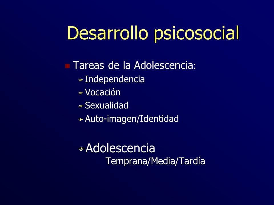 Desarrollo psicosocial n Tareas de la Adolescencia : F Independencia F Vocación F Sexualidad F Auto-imagen/Identidad F Adolescencia Temprana/Media/Tar