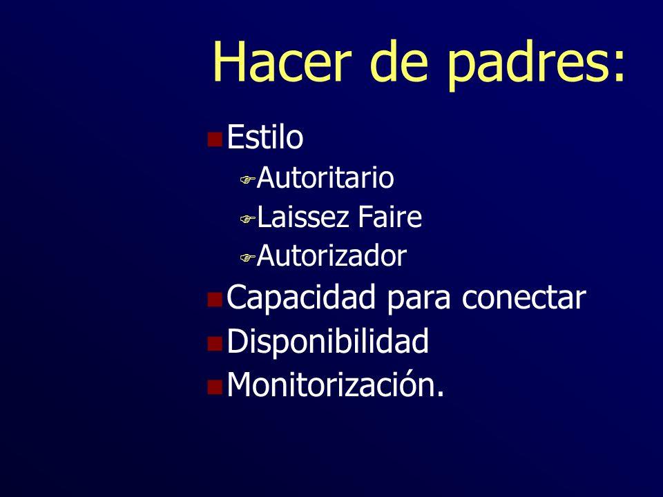 Hacer de padres: n Estilo F Autoritario F Laissez Faire F Autorizador n Capacidad para conectar n Disponibilidad n Monitorización.