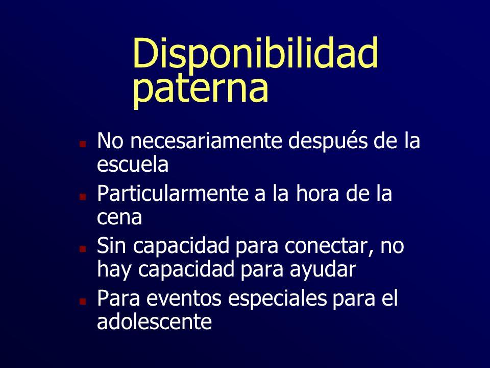 Disponibilidad paterna n No necesariamente después de la escuela n Particularmente a la hora de la cena n Sin capacidad para conectar, no hay capacida