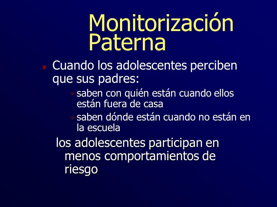 Monitorización Paterna n Cuando los adolescentes perciben que sus padres: F saben con quién están cuando ellos están fuera de casa F saben dónde están