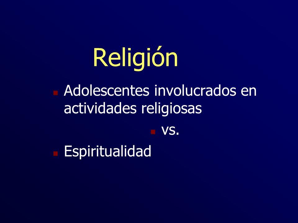 Religión n Adolescentes involucrados en actividades religiosas n vs. n Espiritualidad