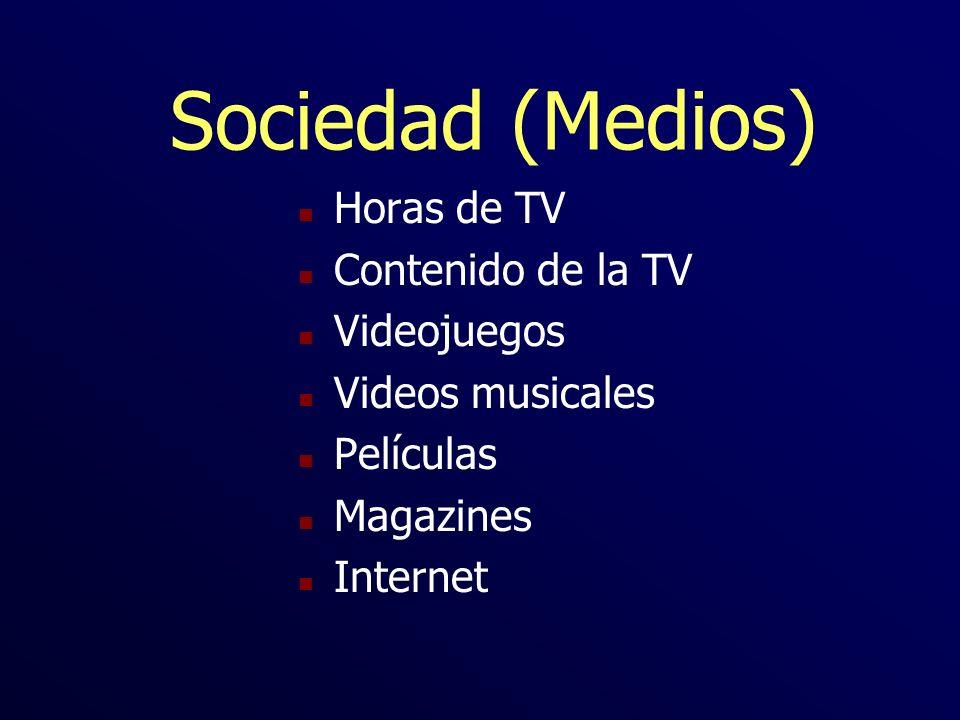 Sociedad (Medios) n Horas de TV n Contenido de la TV n Videojuegos n Videos musicales n Películas n Magazines n Internet